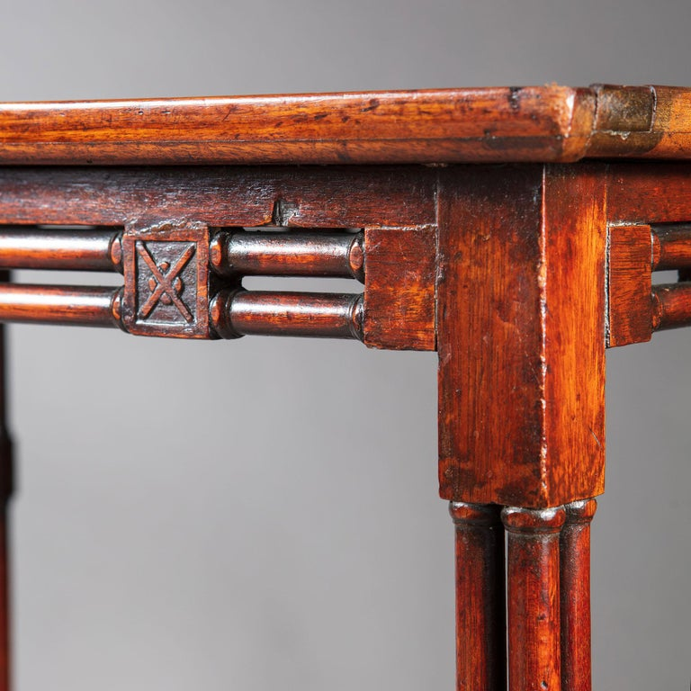 Fine and Rare George III Chinese Chippendale Mahogany Silver Table For Sale 1