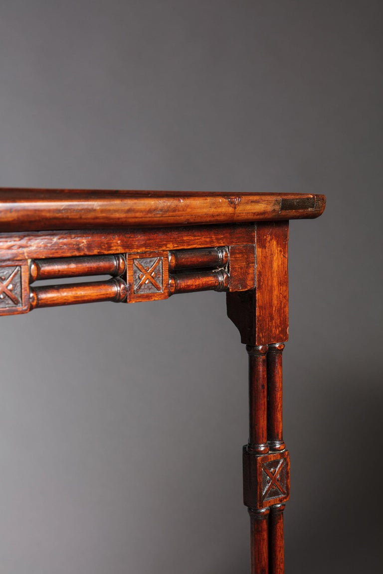 Fine and Rare George III Chinese Chippendale Mahogany Silver Table For Sale 2