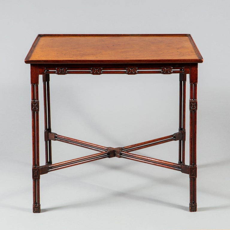 Fine and Rare George III Chinese Chippendale Mahogany Silver Table For Sale 4