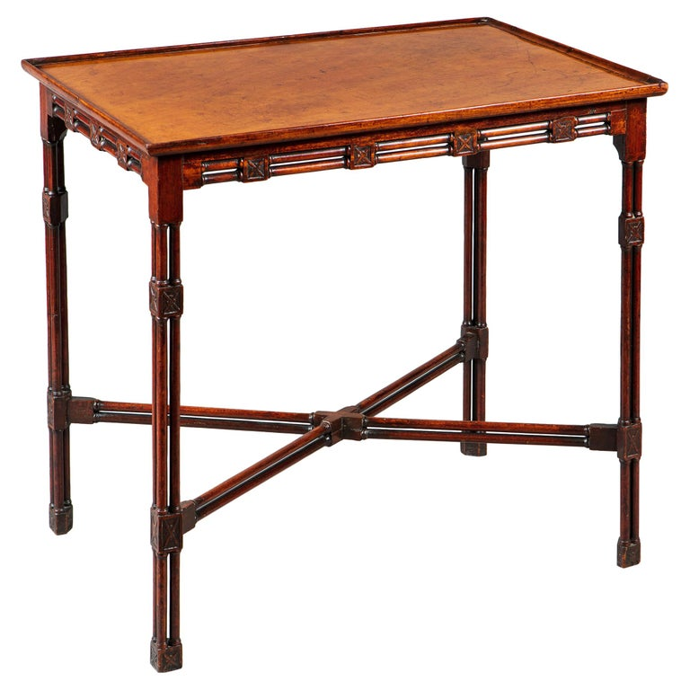 Fine and Rare George III Chinese Chippendale Mahogany Silver Table For Sale