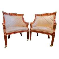 Fine and Rare Pair of 19th Century Mahogany and Brass Inlayed Russian Bergères