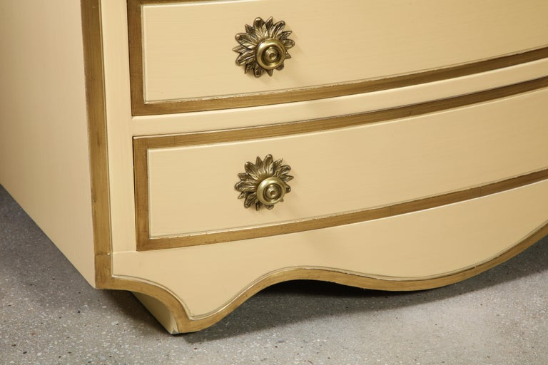 Painted and parcel gilt 3 drawer chests with brass handles by Dorothy Draper For Sale 6