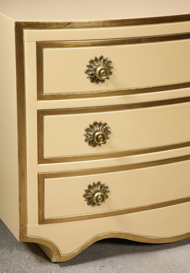 Painted and parcel gilt 3 drawer chests with brass handles by Dorothy Draper For Sale 7