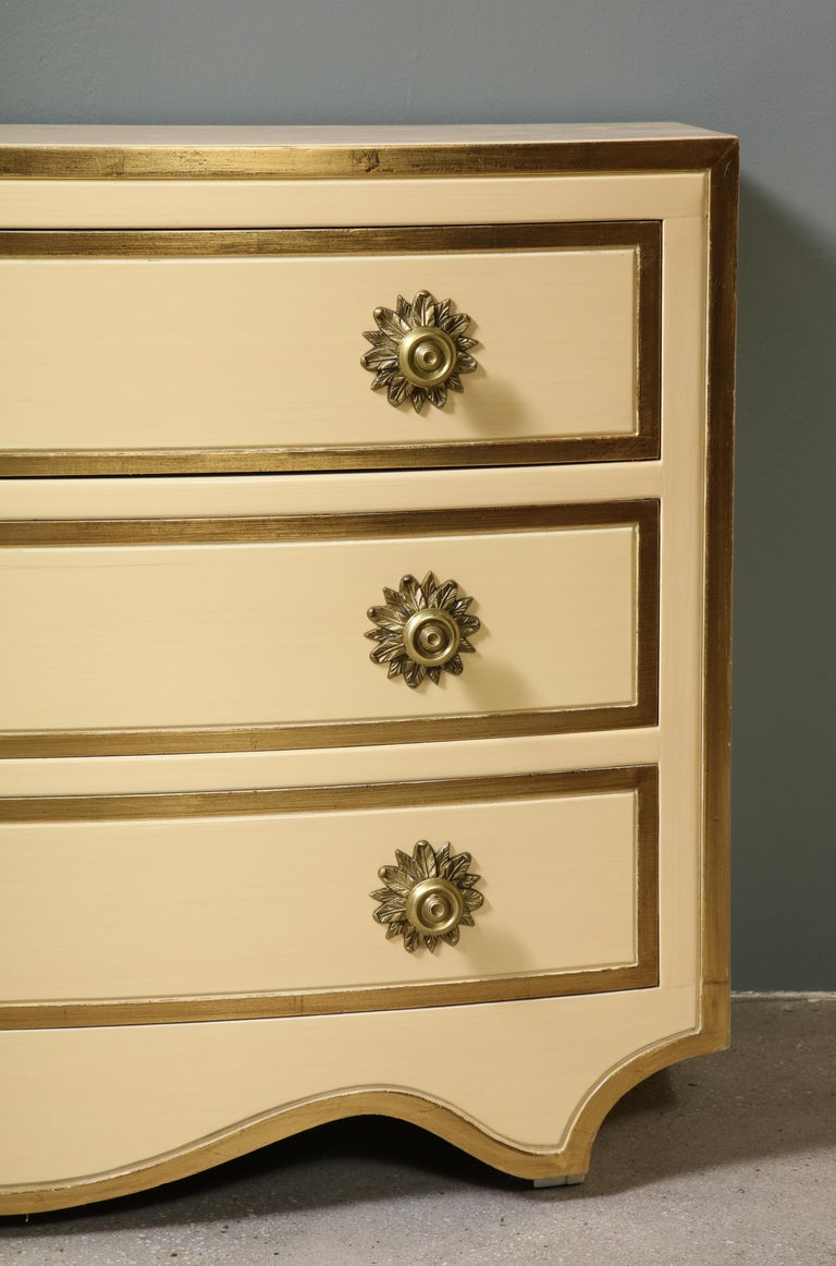American Painted and parcel gilt 3 drawer chests with brass handles by Dorothy Draper For Sale