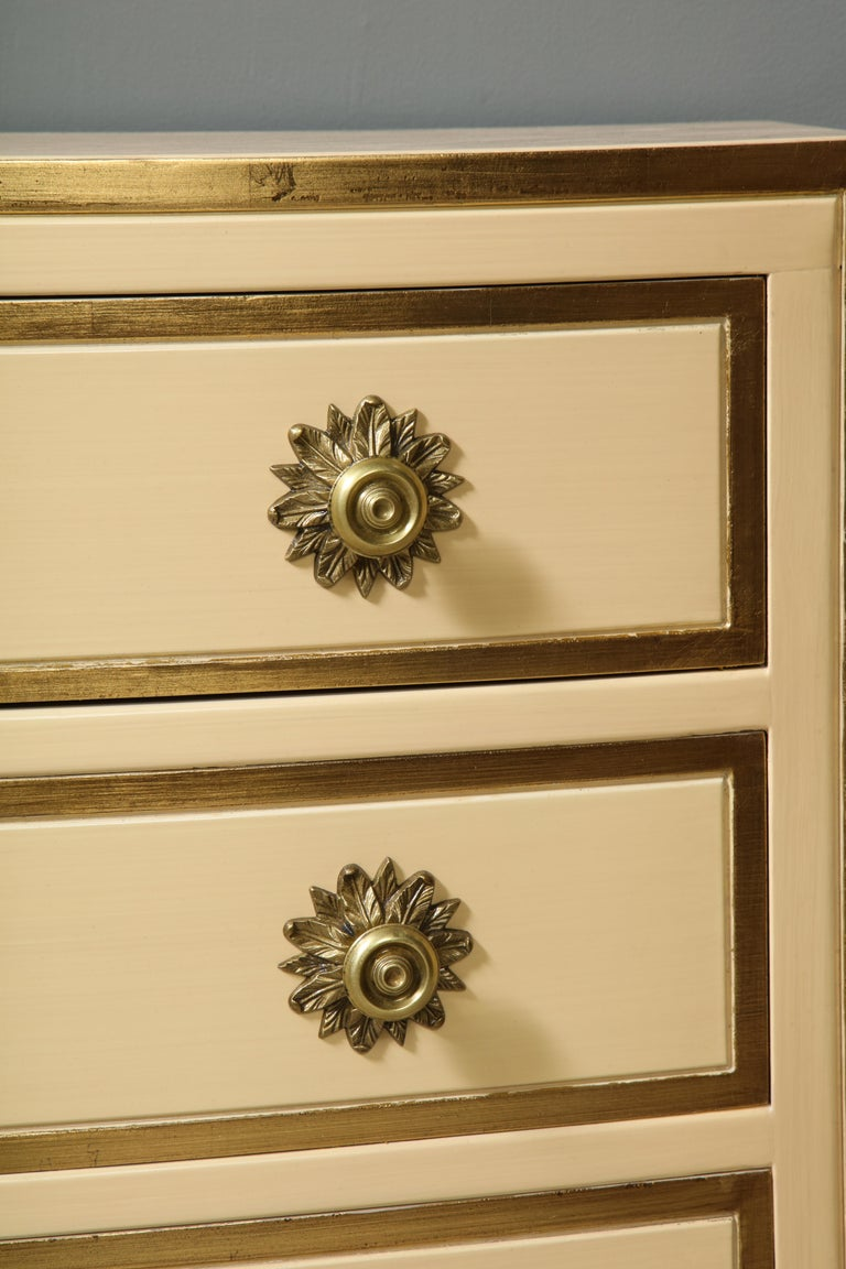 Gilt Painted and parcel gilt 3 drawer chests with brass handles by Dorothy Draper For Sale