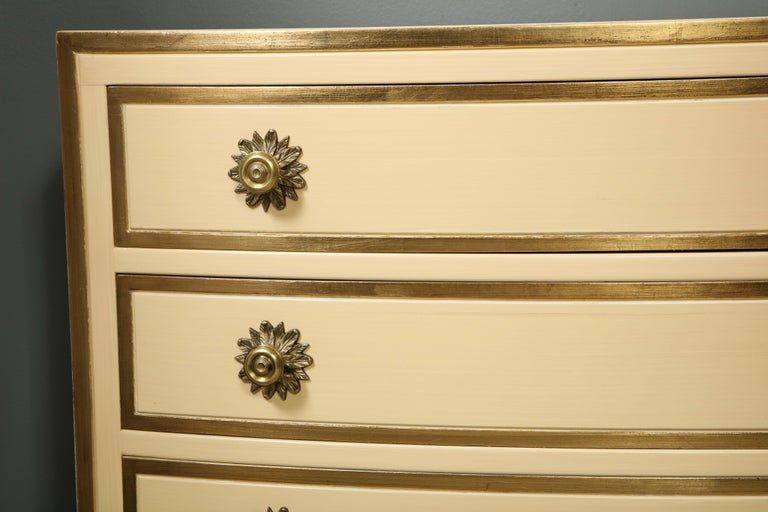 Mid-20th Century Painted and parcel gilt 3 drawer chests with brass handles by Dorothy Draper For Sale