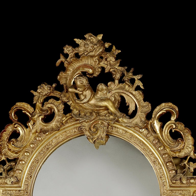 French Fine and Tall Louis XV Style Carved Giltwood Mirror, circa 1870 For Sale