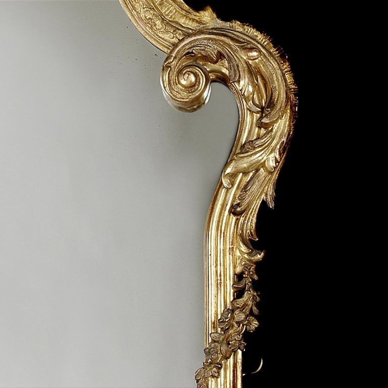 Fine and Tall Louis XV Style Carved Giltwood Mirror, circa 1870 In Good Condition For Sale In London, GB