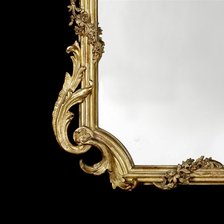 19th Century Fine and Tall Louis XV Style Carved Giltwood Mirror, circa 1870 For Sale