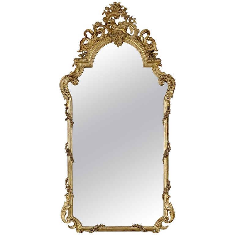 Fine and Tall Louis XV Style Carved Giltwood Mirror, circa 1870 For Sale