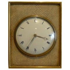 Fine Antique English Edwardian Shagreen and Gilt Bronze Strut Clock