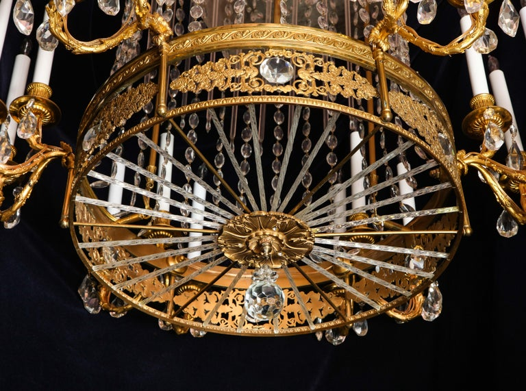 Fine Antique French Louis XVI Style Gilt Bronze and Cut Crystal Chandelier For Sale 6