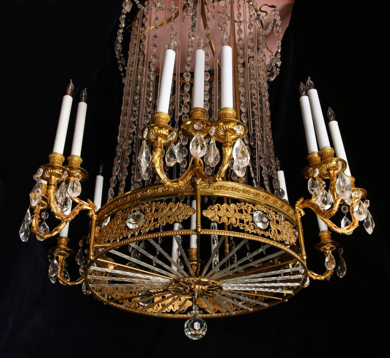 Fine Antique French Louis XVI Style Gilt Bronze and Cut Crystal Chandelier In Good Condition For Sale In New York, NY