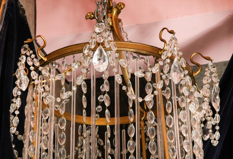 Fine Antique French Louis XVI Style Gilt Bronze and Cut Crystal Chandelier For Sale 1