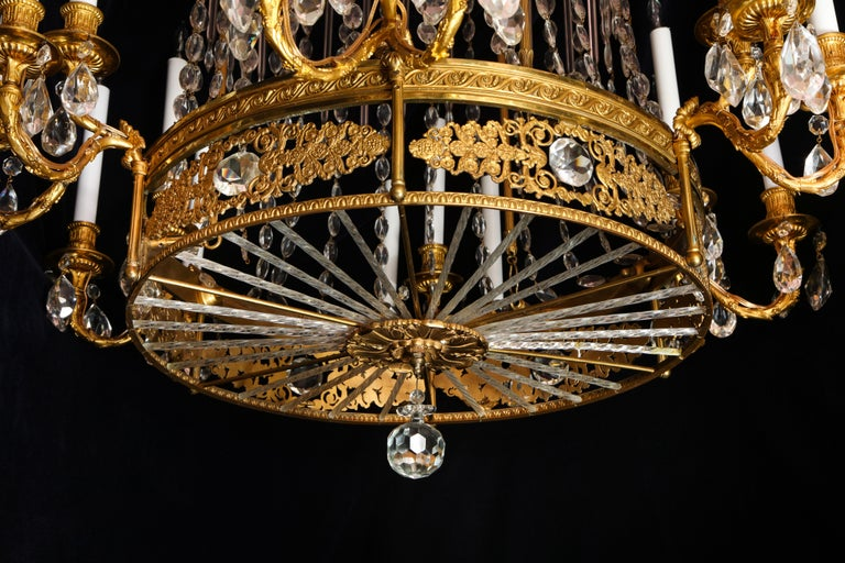 Fine Antique French Louis XVI Style Gilt Bronze and Cut Crystal Chandelier For Sale 4