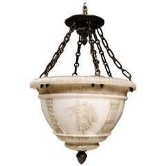 A Fine Antique French Neoclassical Style Carved Alabaster and Bronze Chandelier