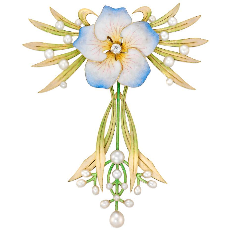 Fine Art Nouveau Enamel and Pearl Flower Pendant
