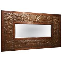 Fine Arts & Crafts Period Oak and Copper Mirror