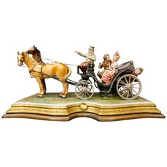 Fine Capo Di Monte Group of a Horse Drawn Carriage by Bruno Marli