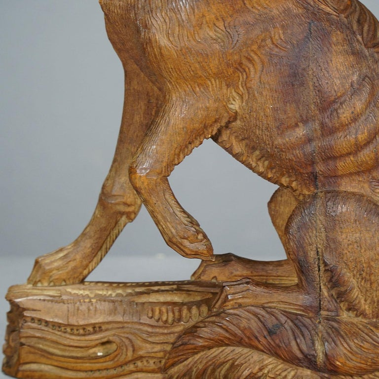 Black Forest Fine Carved Statue of a Staghound, circa 1920 For Sale