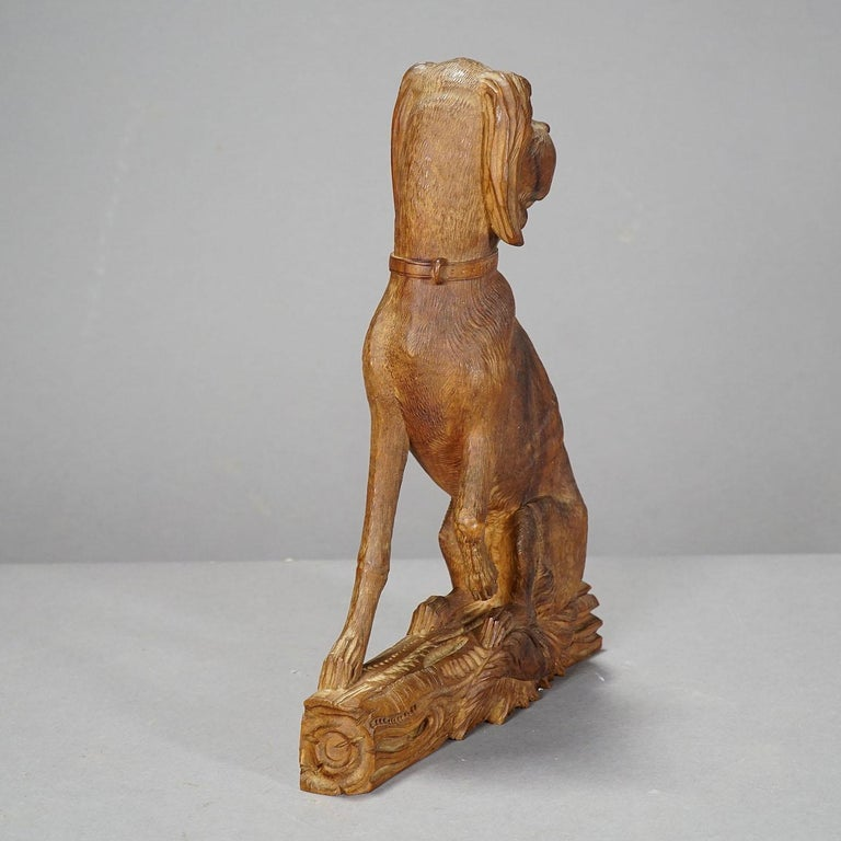 Swiss Fine Carved Statue of a Staghound, circa 1920 For Sale