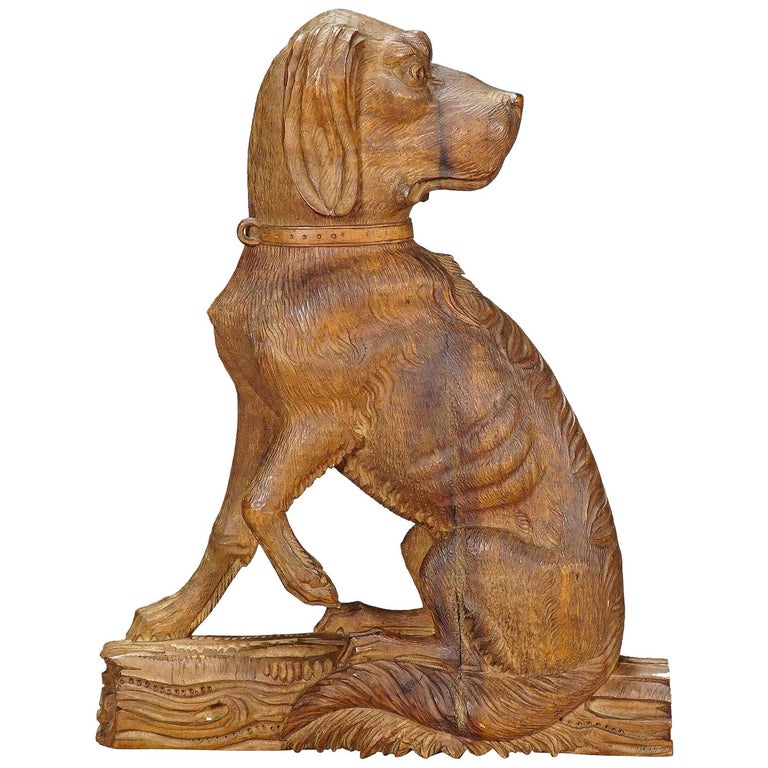 Fine Carved Statue of a Staghound, circa 1920 For Sale