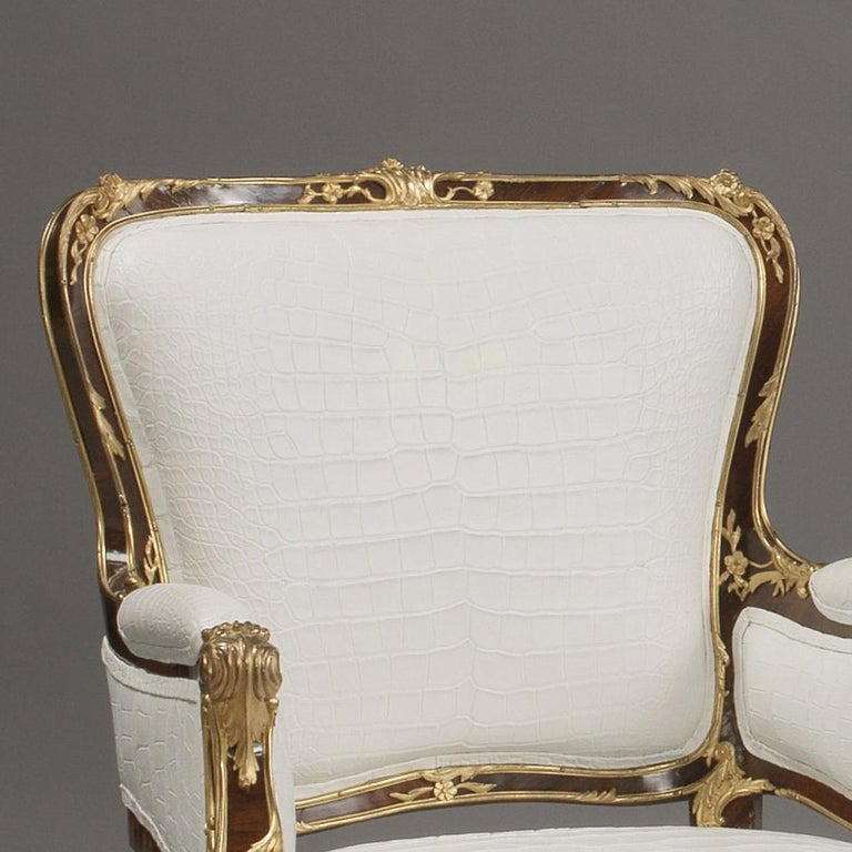 Fine Companion Pair of Russian Gilt Bronze-Mounted Armchairs, circa 1870 In Good Condition For Sale In London, GB