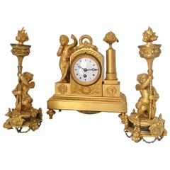 Fine Early 19th Century French Empire Period Gilt Bronze Figural Set Clock