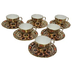 Fine Early 20th Century English Hand Painted Imari Pattern Crown Derby Tea Set