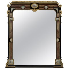 Ebonized and Boulle Inlaid Overmantel Mirror. French, c 1860