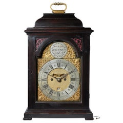 Fine Ebonized George II Eight Day Table Clock with Dutch Striking and Trip Rep