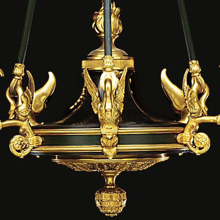 French Fine Empire Style Gilt and Patinated Bronze Three-Light Chandelier, circa 1900 For Sale