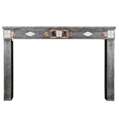 Fine European Rustic Antique Fireplace Surround with Marble Inlays