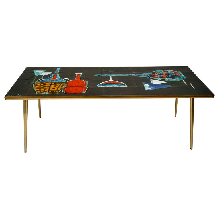 A Fine French 1950's Brass Base and Ceramic Top Coffee Table by Denisco For Sale