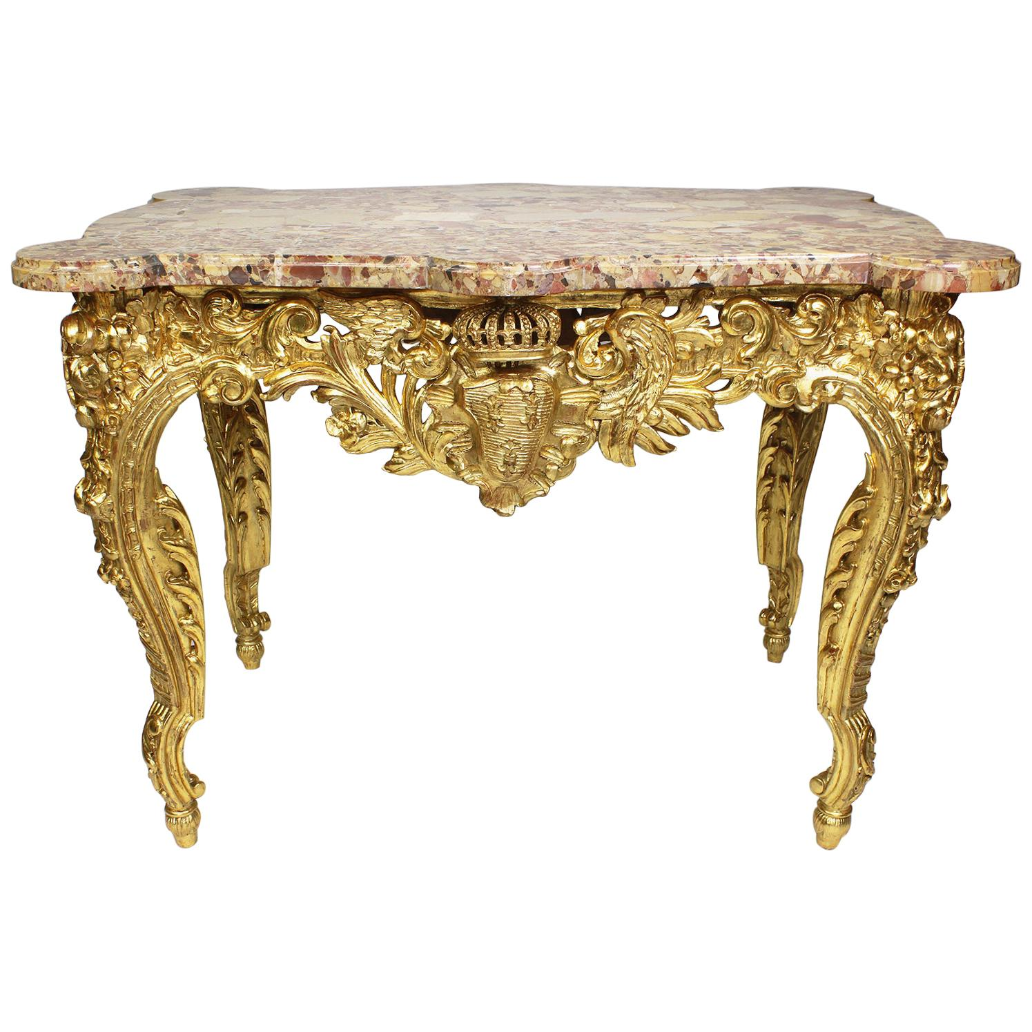 """Fine French 19th Century Louis XV Style Giltwood Carved """"Royal"""" Center Table"""
