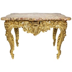 "Fine French 19th Century Louis XV Style Giltwood Carved ""Royal"" Center Table"