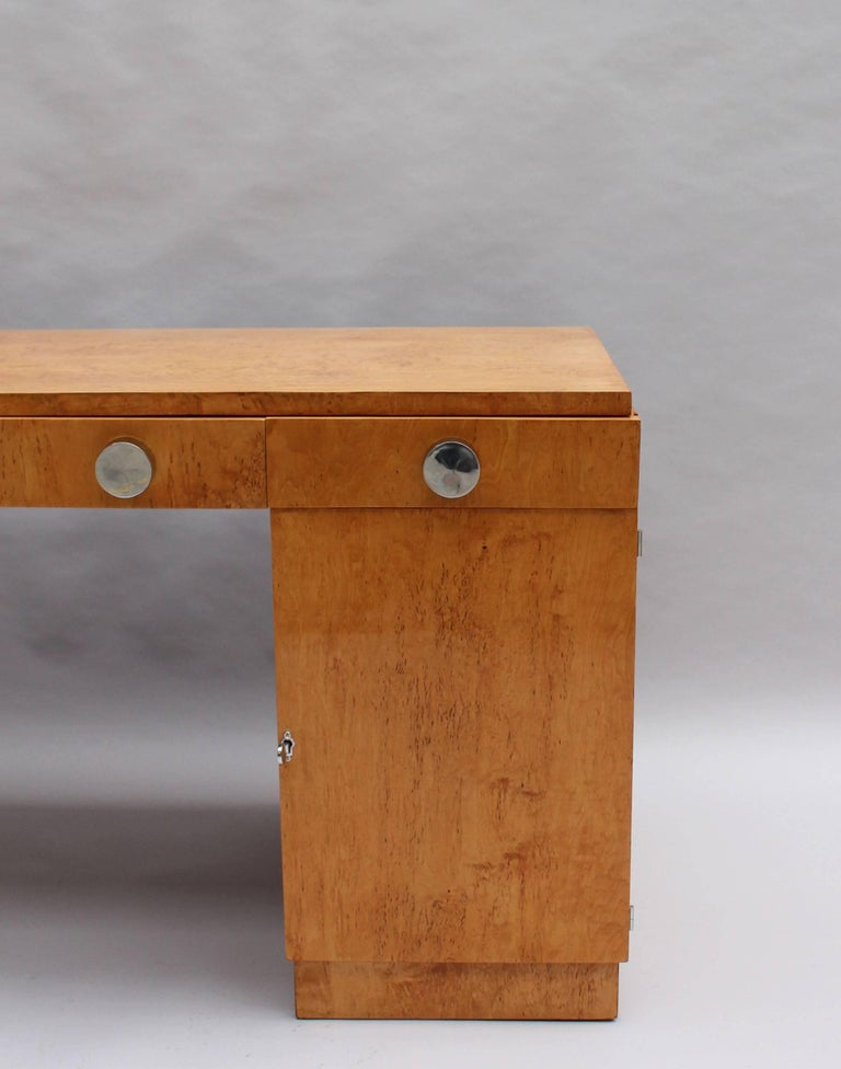 Fine French Art Deco Birch Desk with Chrome Details 7