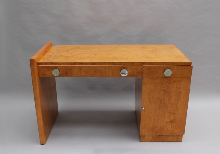 Fine French Art Deco Birch Desk with Chrome Details In Good Condition In Long Island City, NY