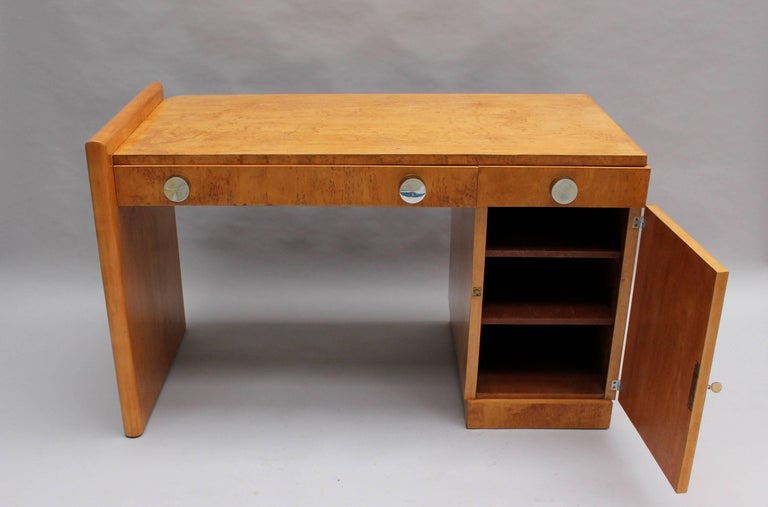 Mid-20th Century Fine French Art Deco Birch Desk with Chrome Details