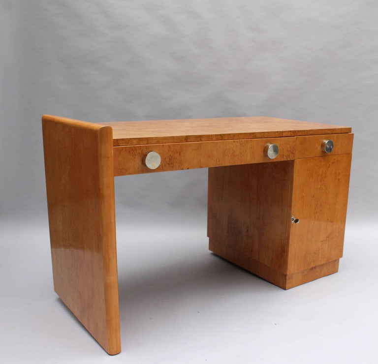 Fine French Art Deco Birch Desk with Chrome Details 1