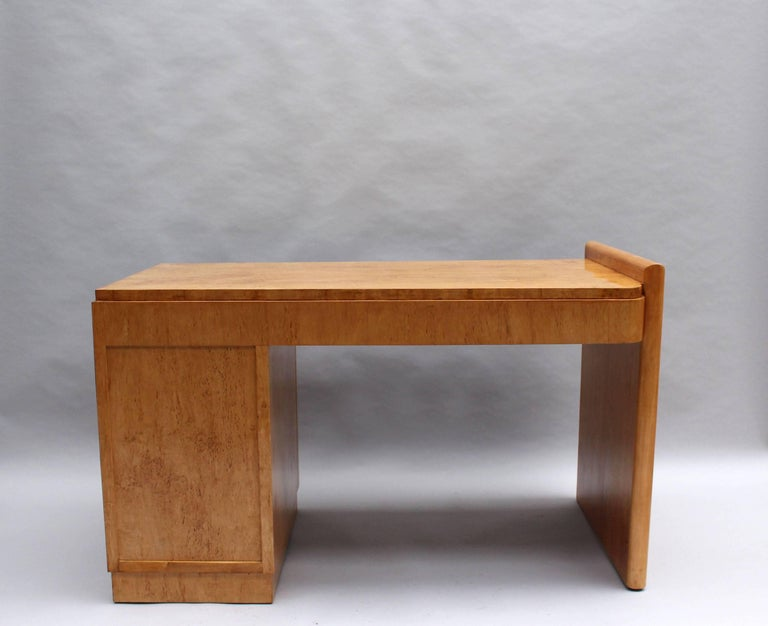 Fine French Art Deco Birch Desk with Chrome Details 5