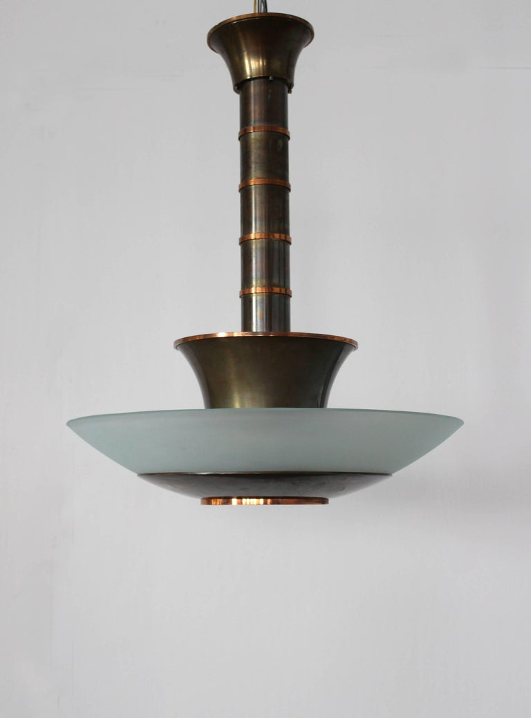 Frosted Fine French Art Deco Bronze and Glass Chandelier by Genet et Michon For Sale