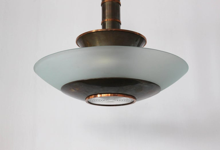 Fine French Art Deco Bronze and Glass Chandelier by Genet et Michon For Sale 2
