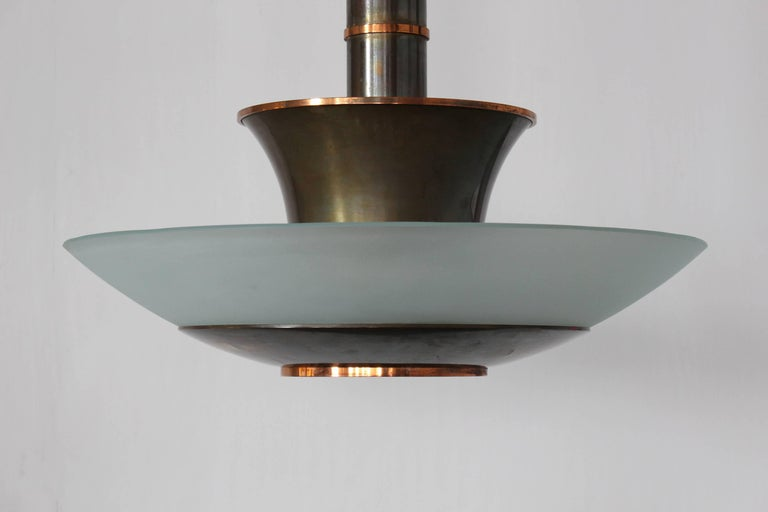 Fine French Art Deco Bronze and Glass Chandelier by Genet et Michon In Good Condition For Sale In Long Island City, NY