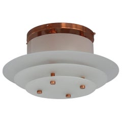 Fine French Art Deco Glass and Bronze Flush Mount by Perzel