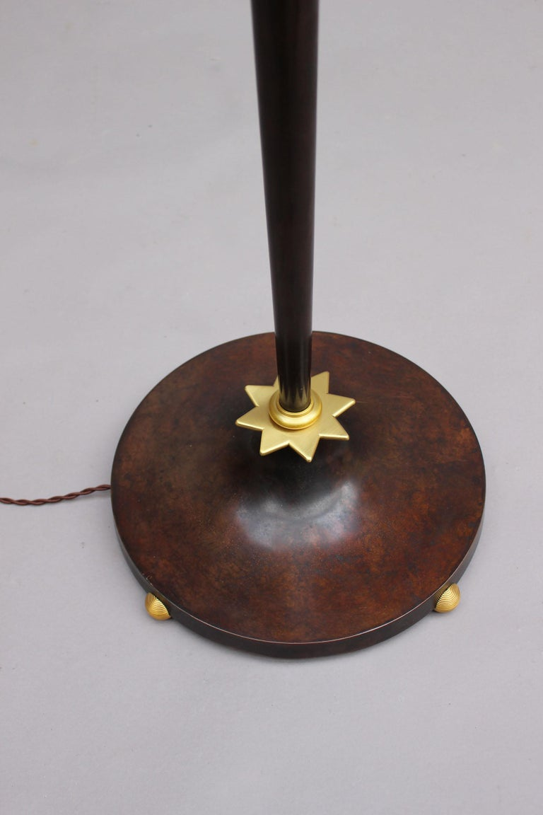 Fine French Art Deco Patinated Brass Floor Lamp For Sale 8