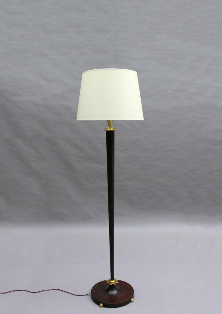 Fine French Art Deco Patinated Brass Floor Lamp In Good Condition For Sale In Long Island City, NY