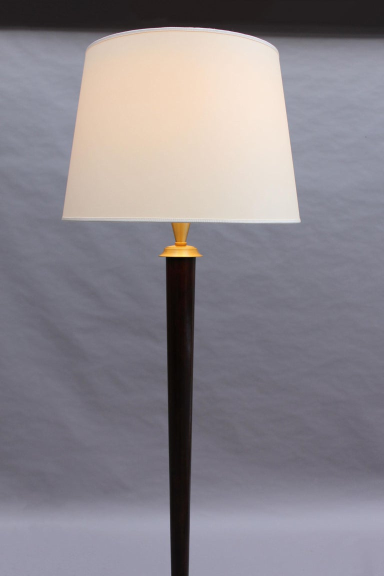Fine French Art Deco Patinated Brass Floor Lamp For Sale 1