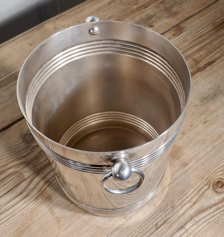Silver Plate Fine French Art Deco Style Wine Cooler, by Gallia For Sale