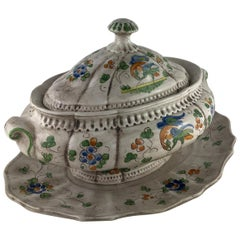 Fine French Faience Hand Painted Soup Tureen and Underplate